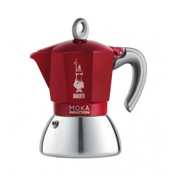 """Cafetière """"Moka Induction"""" 4T Inox/Rouge BIALETTI – 6944"""